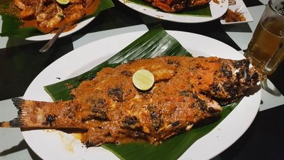Whole fish at Jimbaran restaurant, Medan