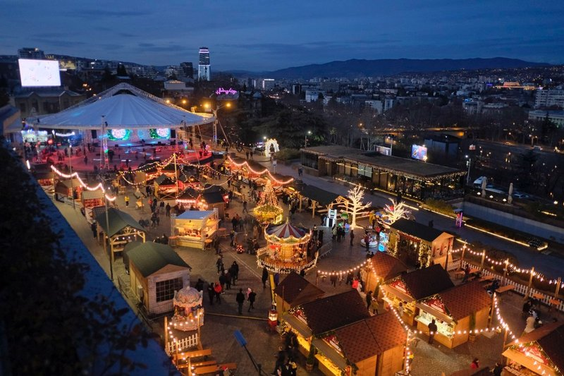 View of a Christmas market from Republic Restaurant