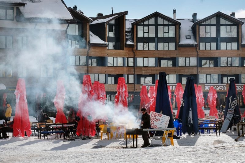 Prepping the après-ski BBQ