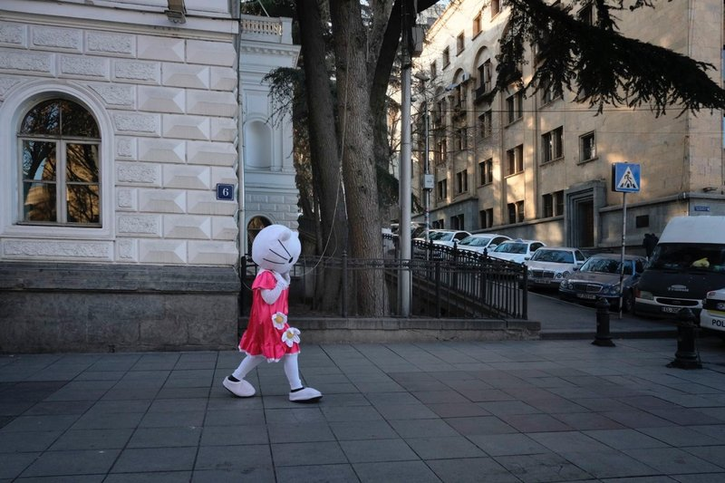Hello Kitty mascot walking on Rustaveli Avenue, Tbilisi