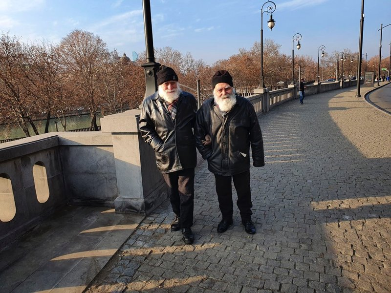 Brothers on their way to Holy Trinity Cathedral on Orthodox Christmas
