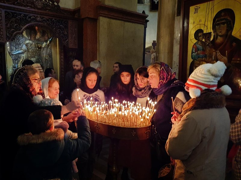 Inside Holy Trinity Cathedral on Orthodox Christmas