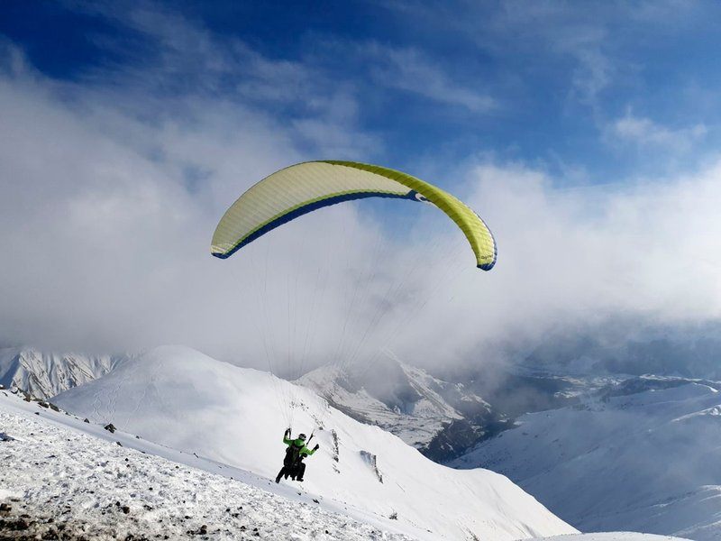 and watching the paragliders
