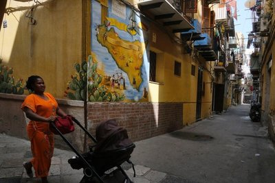 Lady with stroller