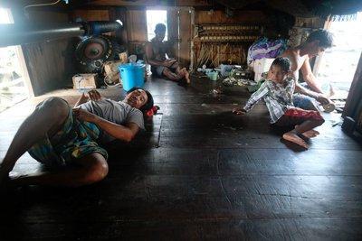 Living quarters on a bagan (fishing platform), Nabire