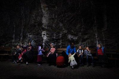 A very large family visiting Praid salt mine