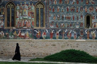 Vivid exterior frescoes, Sucevita Monastery