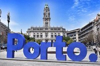 Newly erected 'Porto' sign in main square.