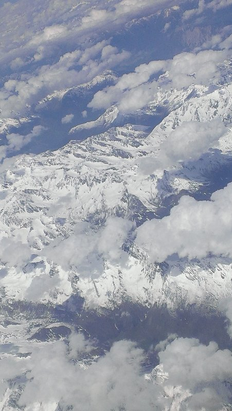 Aerial view of the Alps from the plane to Berlin