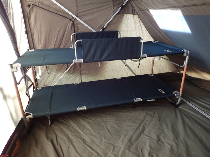Modified bunks along side wall in Oztent RV5