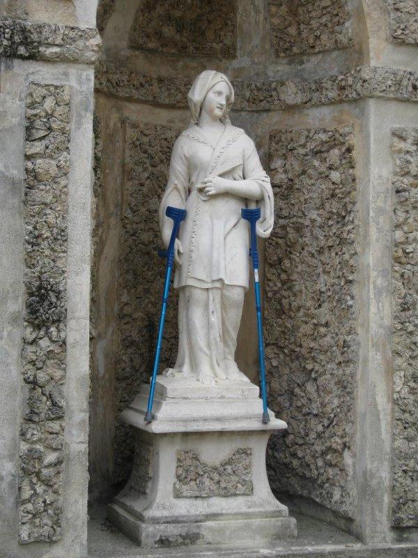 Statue with crutches