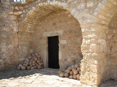Slingshot balls stacked inside Agios Ioannis monastery