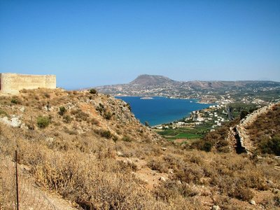 View overlooking Aptera Castelli, outer wall of Aptera city-state, and Souda Bay