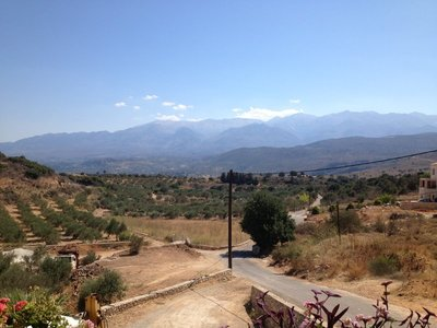 View of the White Mountains beyond the Cretan Corner taverna