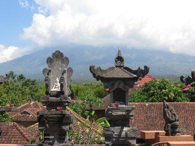 Hindu statues and Volcano on Bali