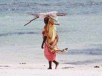 Lady walk on the beach