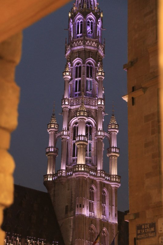 The ridiculously high tower during a light show