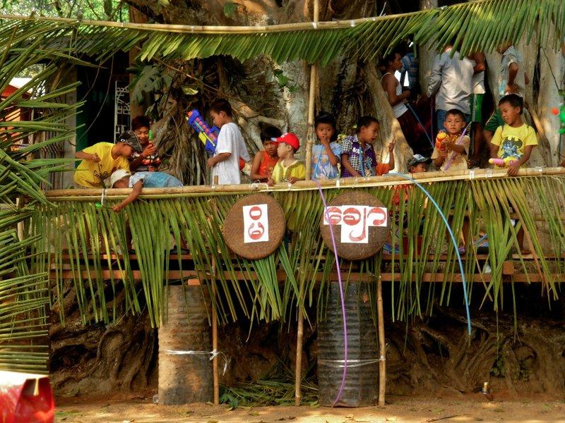 Children enjoying the Water festival in Mogok ,, MYANMAR