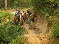 People on the shore of the Mekong River in Laos .. waiting for the Mekong Sun to dock