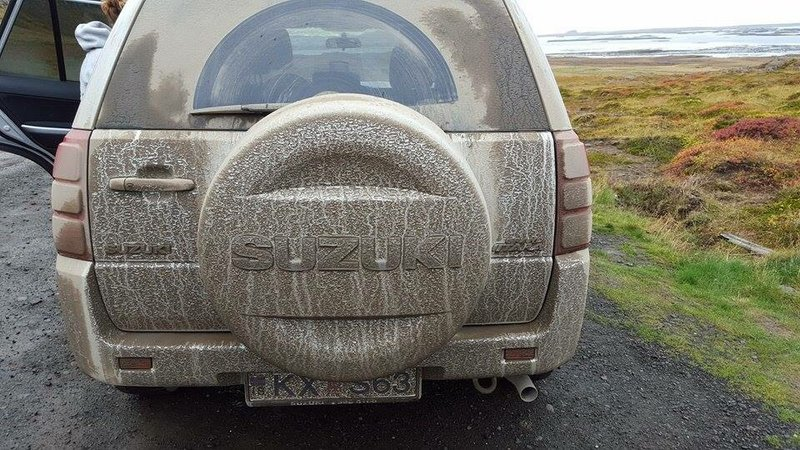 The car after the gravel & rain
