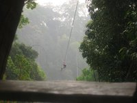 a friend zip lining above the laos jungle