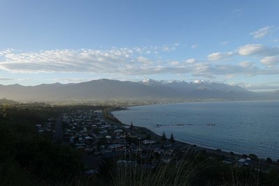 Kaikoura from the hilltop, snowy peaks far away now
