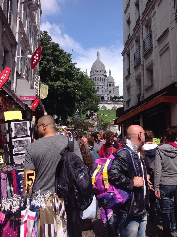 Street in Montmartre, heading for Sacre-coeur basilica