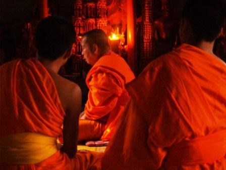 the master monk leads the ceremony
