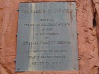 plaque at Garden of the Gods