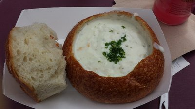 YUM - Boudin's clam chowder