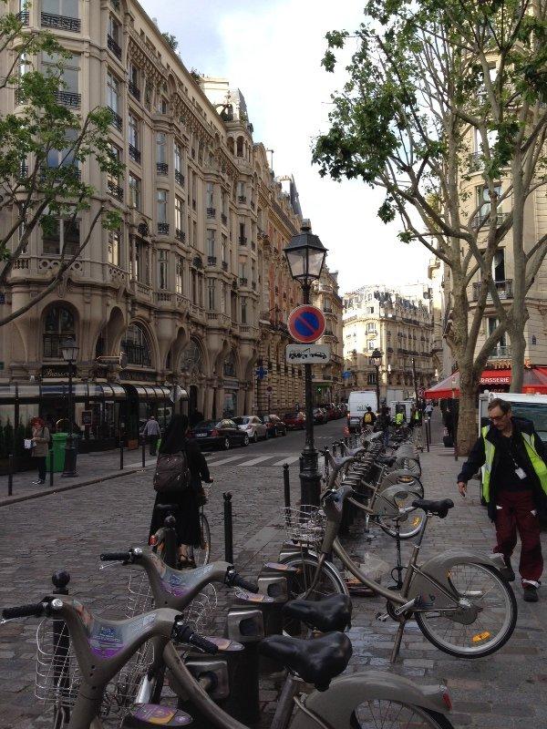 Typical Parisian street. Tall terrace houses near St Michel.