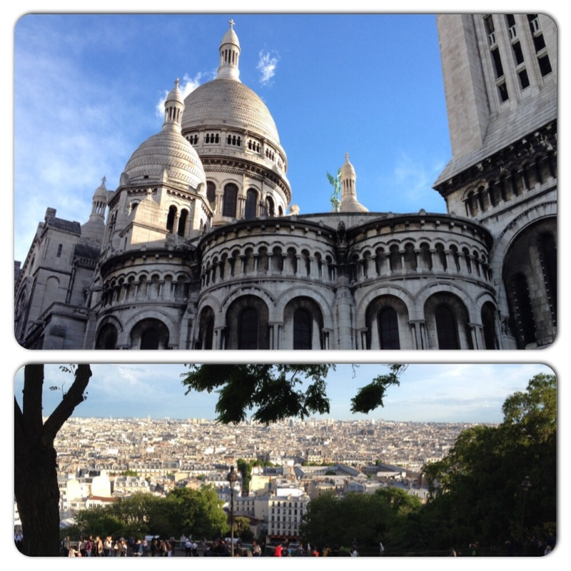 Sacre-Coeur from behind and the view of Paris from the front of the basilica.
