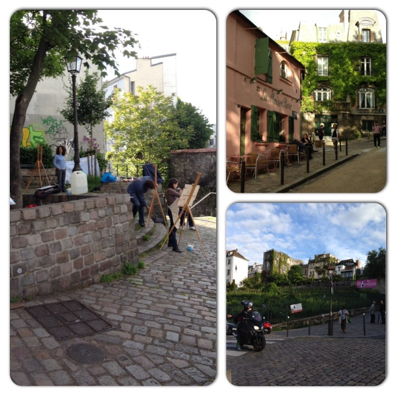 Left: Local artists in Montmartre. Top right: the pink building used to be a brothel. The woman Van Gogh believed to be 'his' lover worked here. Bottom right: the last remaining vineyard in Paris. Each October they harvest the grapes and make wine. Apparently the wine the grapes produce is revolting but since Parisian wine is so rare bottles of it sell for thousands of euros. They also throw a big street party in Montmartre during the harvest - Paris in October is now on my bucket list!