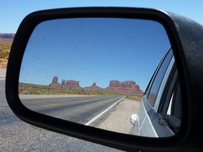 Monument Valley in the mirror.   Photo by Utrecht