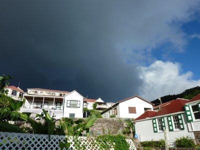Dark clouds gather over Windwardside, Saba