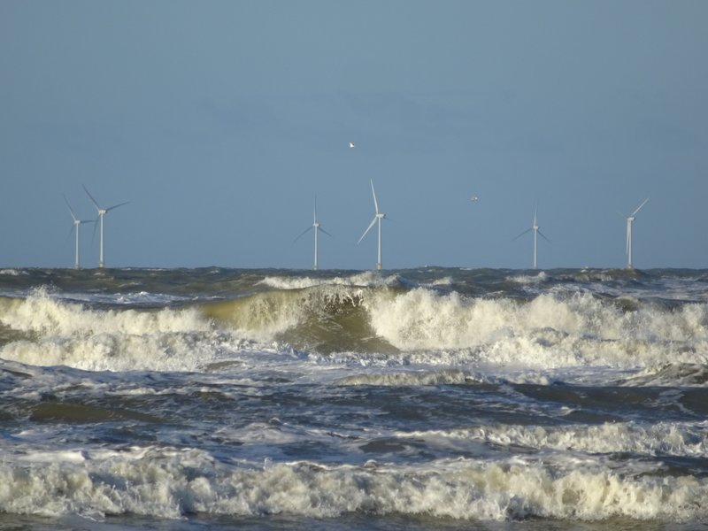 North Sea Windmills and Waves