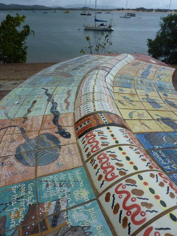 Aboriginal artwork in Bicentennial Park, Cooktown
