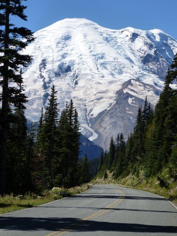 Road through Mount Rainier NP