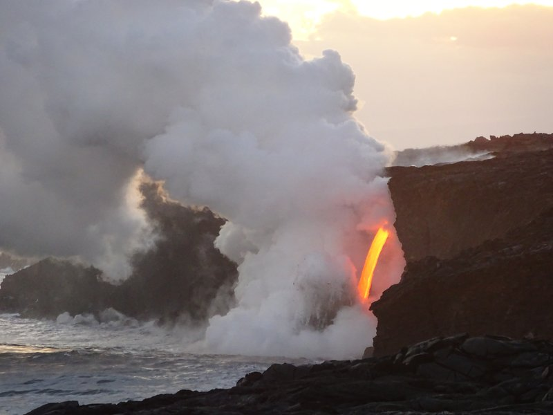 Smoke from the Lava falling into the Ocean