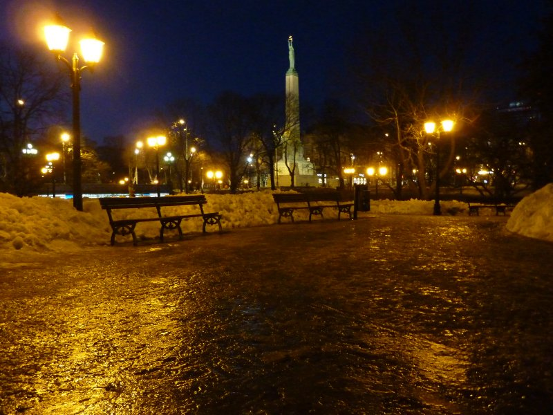 Freedom Monument as seen from the park, Riga