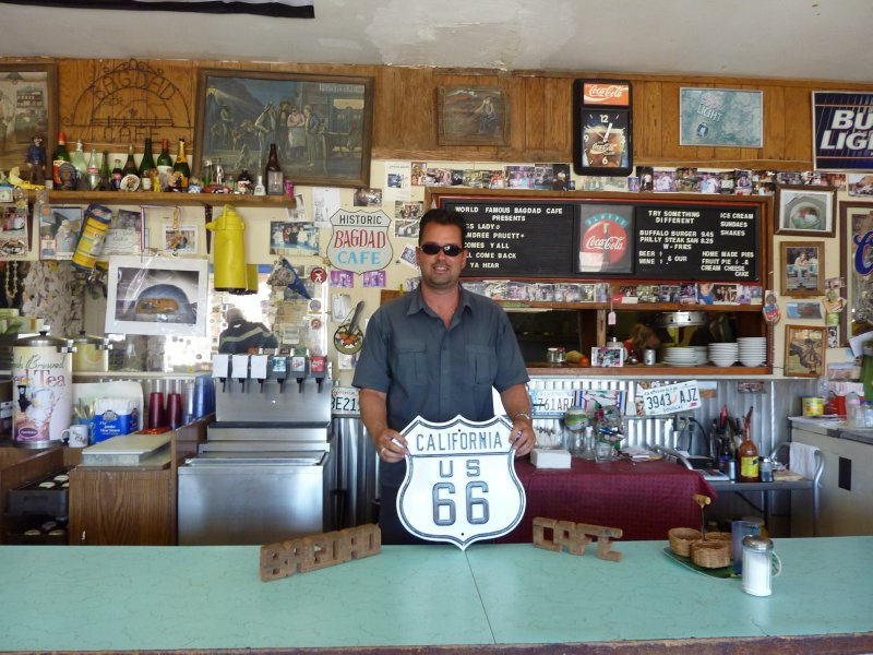 Me at the Bagdad Cafe along Route 66, Newberry Springs, California
