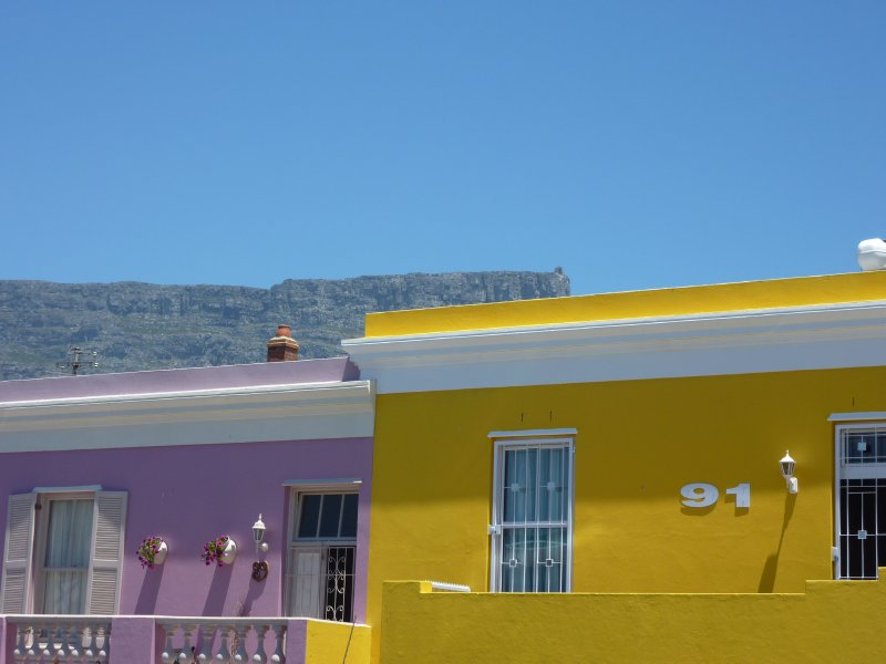 Bo Kaap with Table Mountain in the background, Cape Town