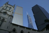 Old and new: St. John's church and Bank of China