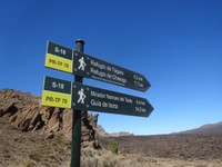 Hiking signs at Teide National Park, Tenerife