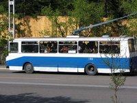 Crowded trolleybus in Pyongyang