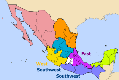 Mexican regions with words