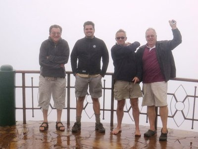 Martin, Jan, Eddie and Graham at a viewpoint on the Ngorongoro Crater