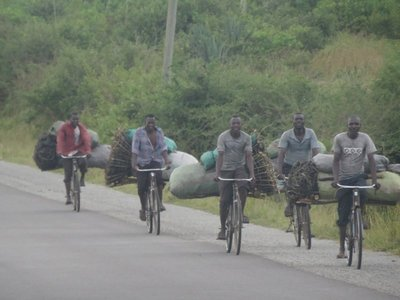 Biking out of Musoma with loads of charcoal, Tanzania