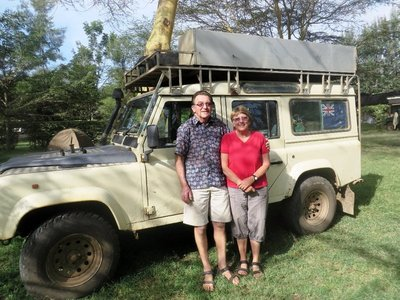 Martin and Jeanette with our land rover, Naivasha, Kenya