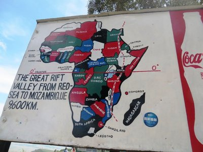 Roadside sign in Kenya showing the Great Rift Valley of Africa
